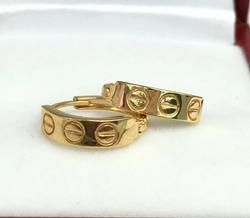 18kt Solid Yellow Gold Huggie Hoop Earrings