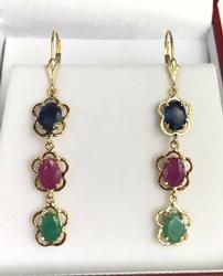 6.0 Carat Precious Gemstone Earrings, 14kt Gold