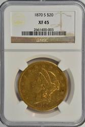 Scarce 1870-S Ty 2 $20 Liberty Gold Piece. NGC XF45