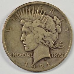 Key date 1921 Peace Silver Dollar in circ