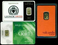3 Diff pure .9999 fine gold 1 gram bars sealed in cards