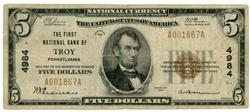 Scarce 1929 Series $5 National of Troy, PA (4984)