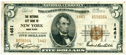 Series of 1929 $5 National of New York, NY (1461)