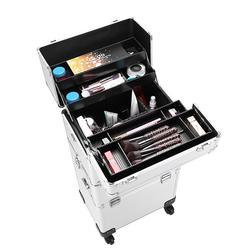 3 in 1 Aluminum Cosmetic Makeup Case Compartment Box