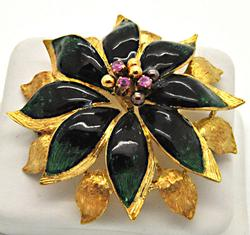 18 KT YELLOW GOLD ENAMEL AND RUBY BROOCH.