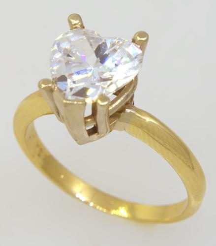 Heart Motif Crystal Ring, Size 7.5