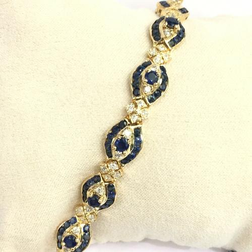 Beautiful 14kt Gold Sapphire & Diamond Bracelet