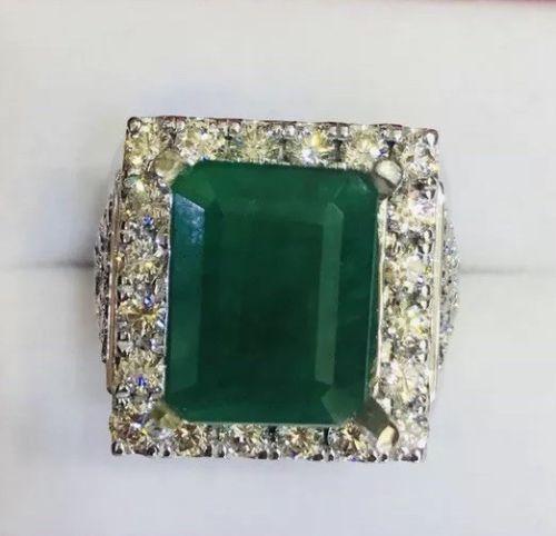 High Society 14kt Gold Emerald & Diamond Ring, 10.0+ Carats!