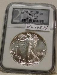 1987 Silver Eagle, Uncirculated, NGC MS-69