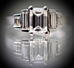 Classic Emerald Cut Diamond Platinum Ring