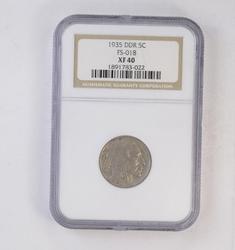 XF40 1935 DDR Buffalo Indian Nickel - Double Die Reverse - NGC Graded