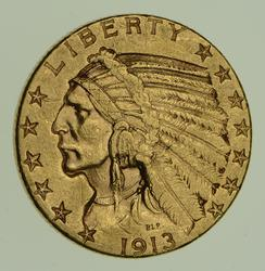 1913-S $5.00 Indian Head Gold Half Eagle - Better Date