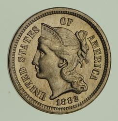 1882 Copper-Nickel Three-Cent Piece - Circulated
