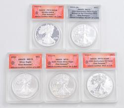 Lot of 5 2011 $1.00 American Silver Eagles - ANACS Graded