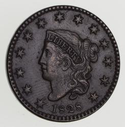1828 Matron Head Large Cent - Narrow Date - Near Uncirculated