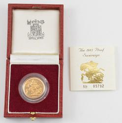1985 United Kingdom Gold Proof Sovereign - With Box & Paper - OGP