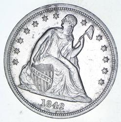 1842 Seated Liberty Silver Dollar - Choice