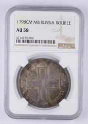 AU58 1798 CM MB Russia 1 Rouble - Graded NGC
