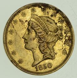 1850 $20.00 Liberty Head Gold Double Eagle