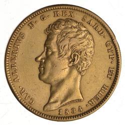 1834 Kingdom Of Sardinia Gold 100 Lire - Carlo Alberto