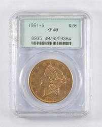 XF40 1861-S $20.00 Liberty Head Gold Double Eagle - OGH - Graded PCGS