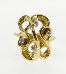 14K Yellow Gold Wavy Overlapping Diamond Inset Statement Ring