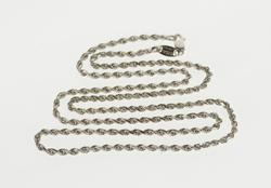 14K White Gold 2.2mm Rope Link Rolling Twist Chain Necklace