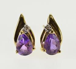 14K Yellow Gold Pear Amethyst Diamond Accented Wavy Stud EarRings