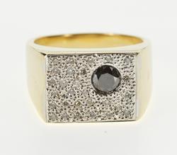 14K Yellow Gold 0.90 Ctw Black and White Diamond Square Men's Ring