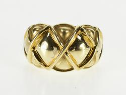 14K Yellow Gold Puffy Lattice Patterned Design Statement Band Ring