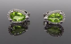 14K White Gold Halo Style Peridot and Diamond Earrings