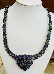 Colossal 100.00+ Carat Blue Sapphire 14kt Gold Necklace
