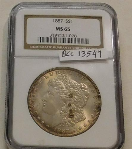 1887 Morgan Dollar  NGC  MS-65, full Gem condition