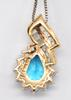 Gorgeous Blue Topaz and Solid Gold Pendant Necklace
