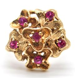 10kt Solid Gold Ruby Bouquet Cocktail Ring