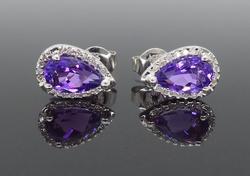 Amethyst and Diamond Halo Style Earrings