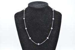 14kt White Gold and Black Pearl Station Necklace