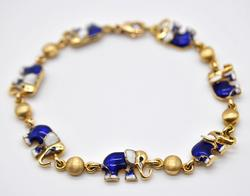 14kt Solid Yellow Gold Elephant Bracelet