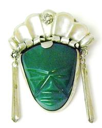 Vintage Sterling Green Onyx Mask Face Pin
