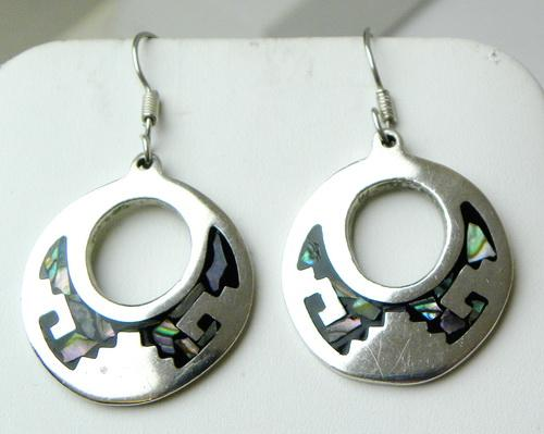 Vintage Mexico Sterling Abalone Disk Earrings