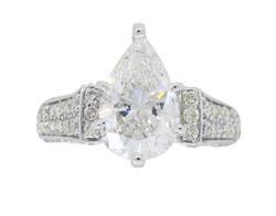 IGI Certified 2.96CTW Pear Cut Diamond Engagement Ring