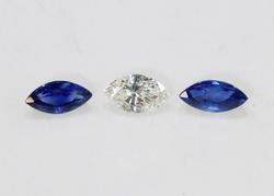 Natural Diamond & Sapphire - Set of 3