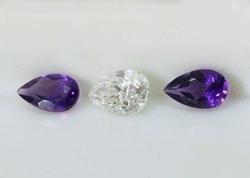 Natural Diamond & Amethyst - Set of 3