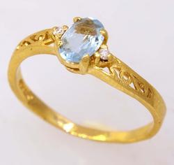 Aquamarine Ring in Gold, Size 6