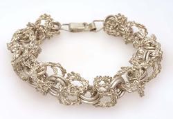Unique Sterling Link Bracelet, 9in