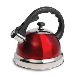 1.7 Quart Stainless Steel Whistling Tea Kettle in Red