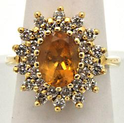 LADIES CITRINE AND DIAMOND 14 KT GOLD RING.