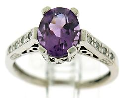 Gorgeous Amethyst and Diamond Accent Ring