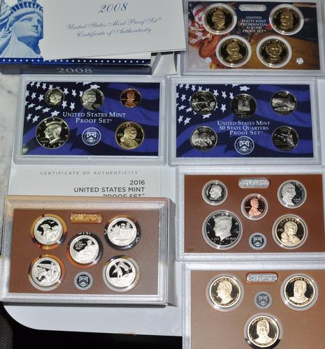 2008 S and 2016 S US  Proof Sets with Original Envelopes