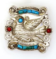 Stunning Turquoise & Coral Slide Pendant in Sterling